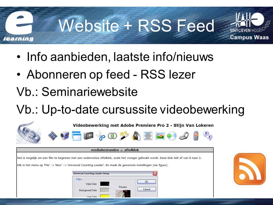 Website + RSS Feed Info aanbieden, laatste info/nieuws