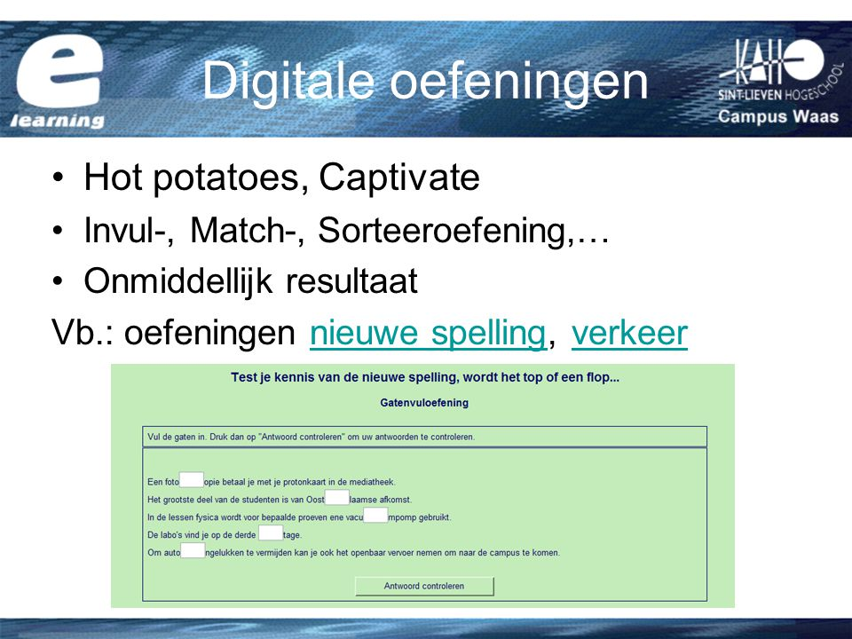 Digitale oefeningen Hot potatoes, Captivate