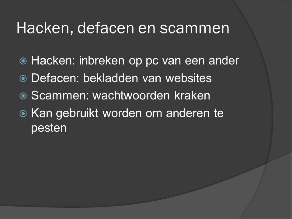 Hacken, defacen en scammen