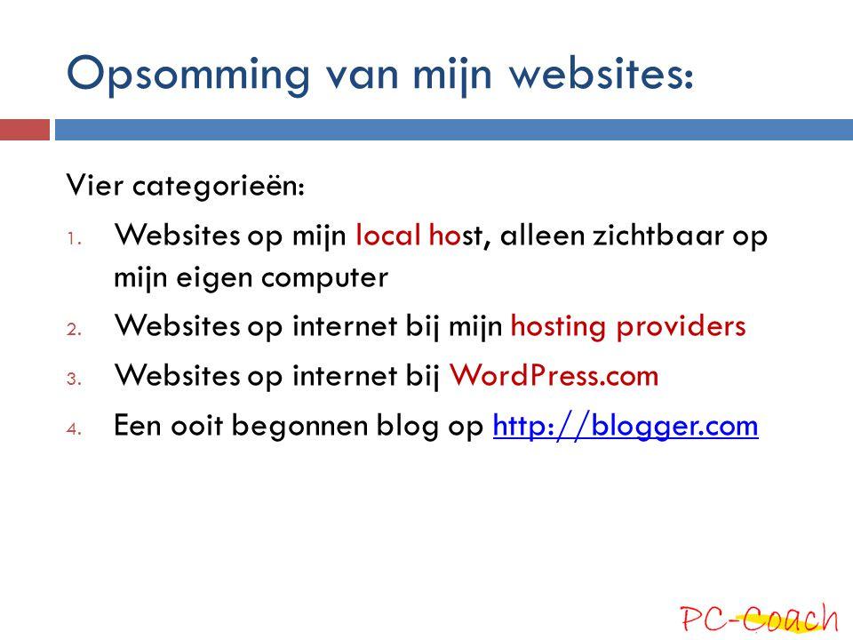 Opsomming van mijn websites: