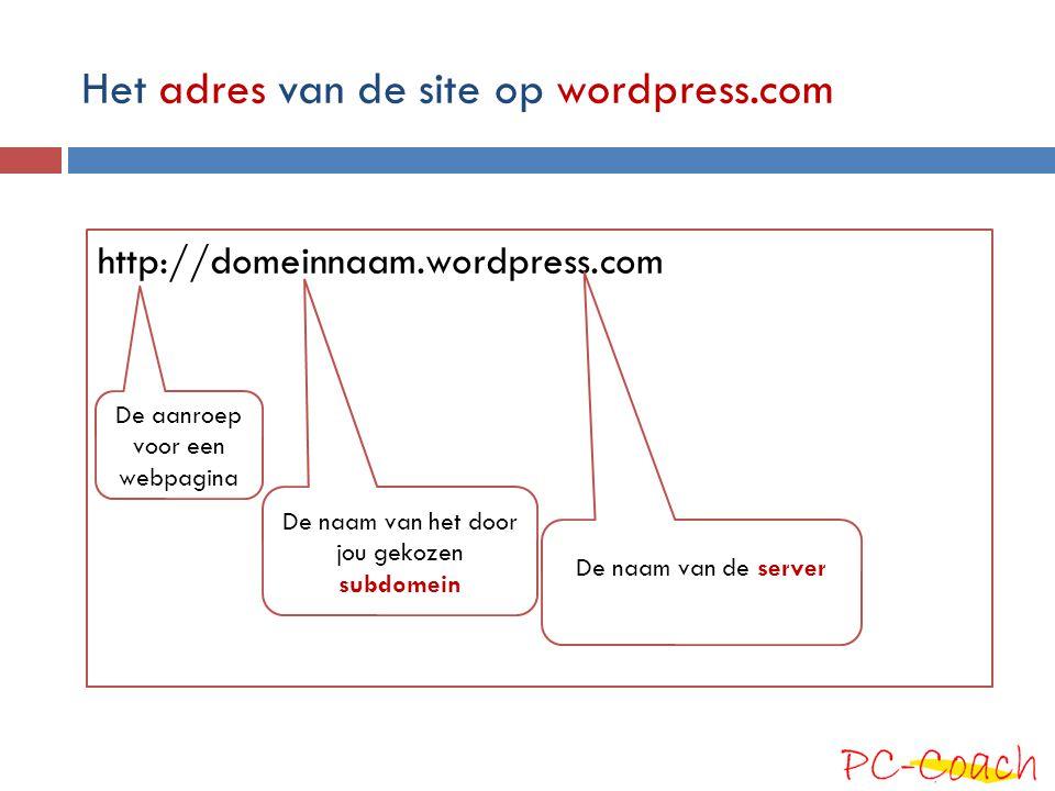 Het adres van de site op wordpress.com