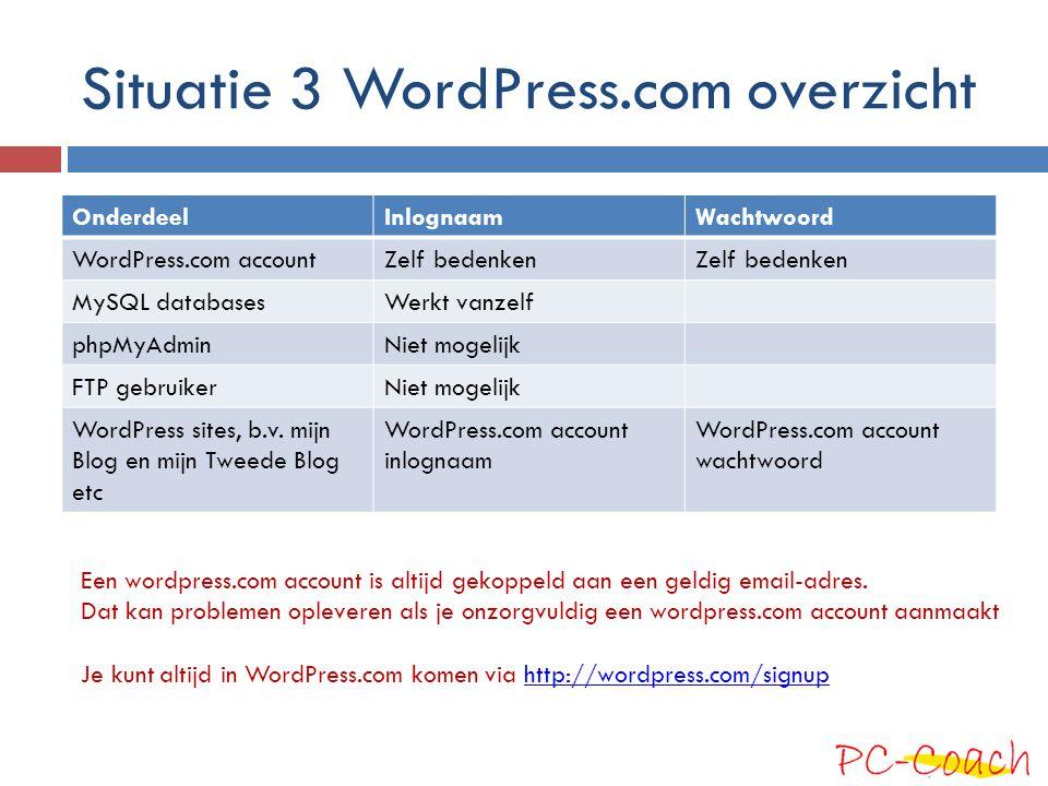 Situatie 3 WordPress.com overzicht