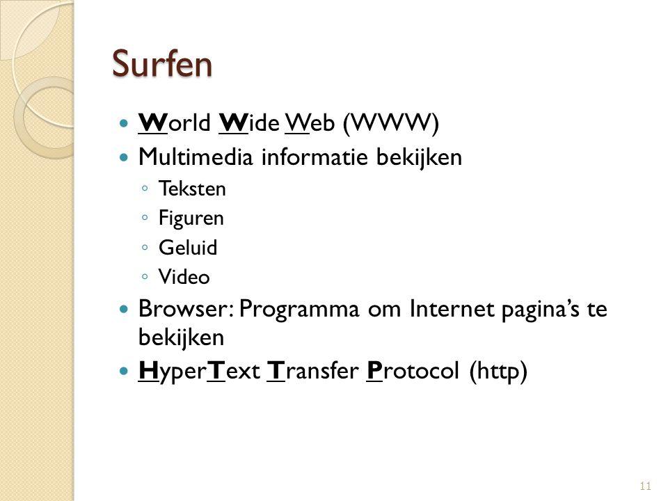 Surfen World Wide Web (WWW) Multimedia informatie bekijken