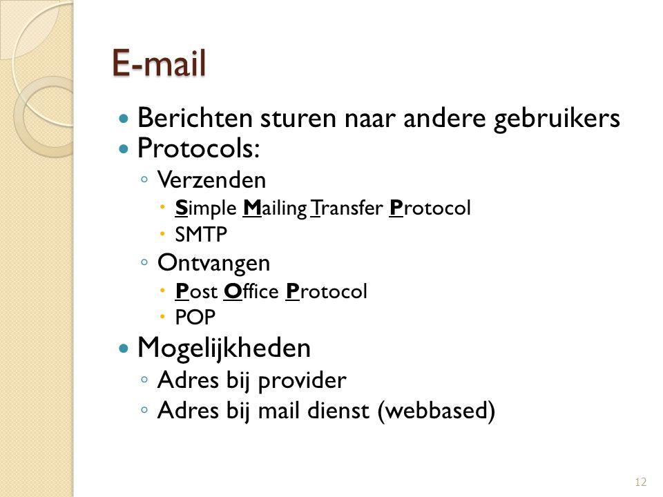 E-mail Berichten sturen naar andere gebruikers Protocols: