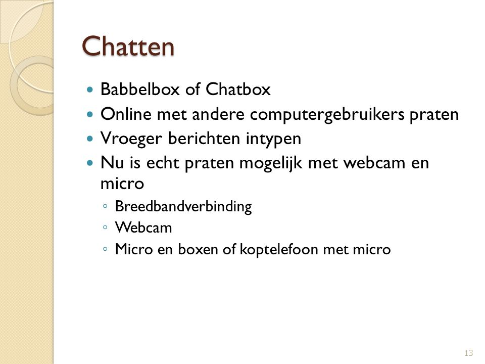 Chatten Babbelbox of Chatbox