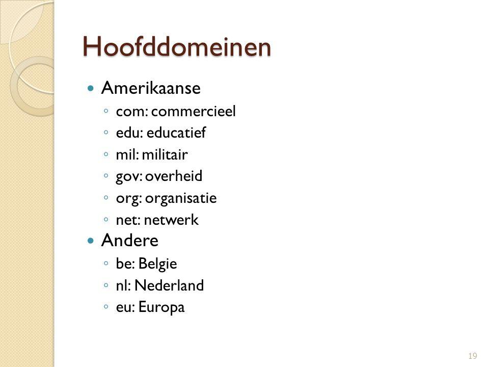 Hoofddomeinen Amerikaanse Andere com: commercieel edu: educatief