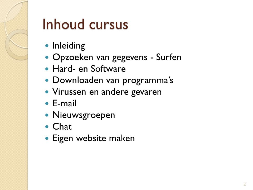 Inhoud cursus Inleiding Opzoeken van gegevens - Surfen