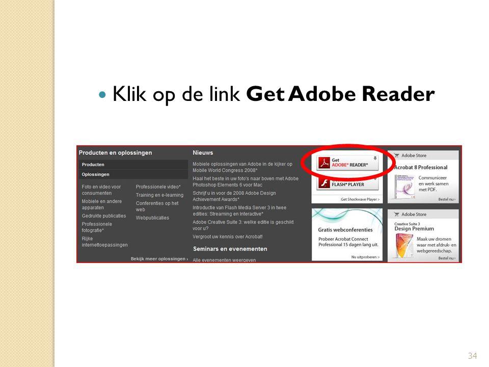Klik op de link Get Adobe Reader