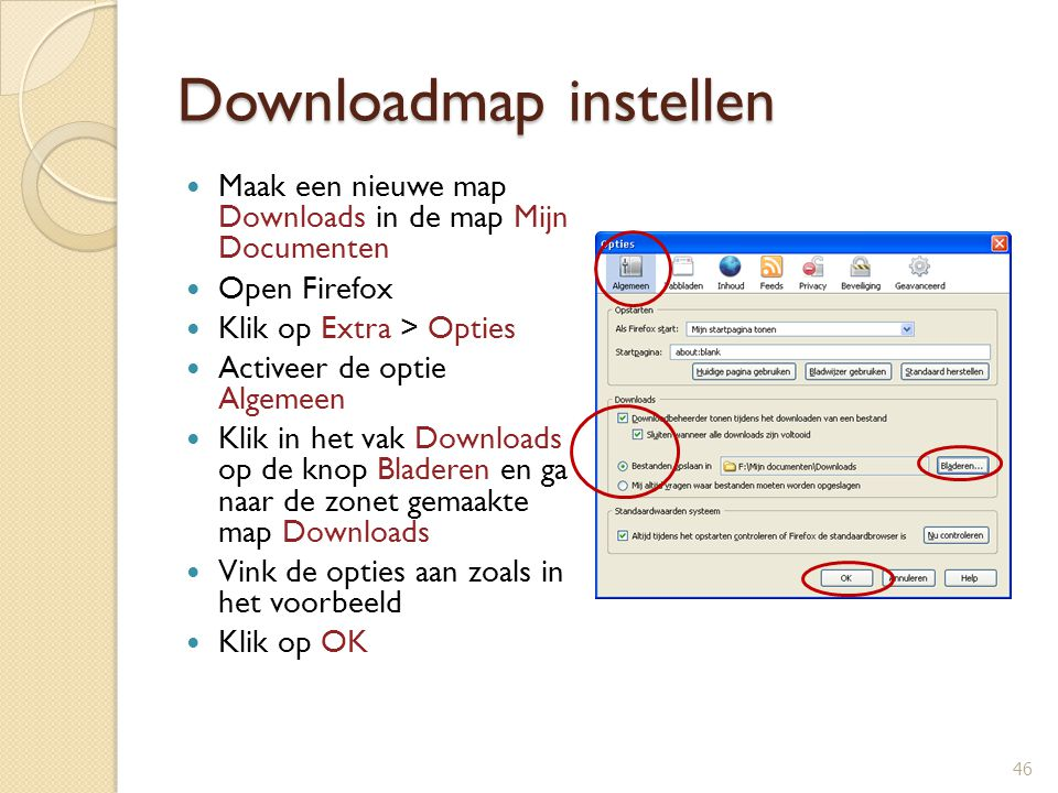 Downloadmap instellen