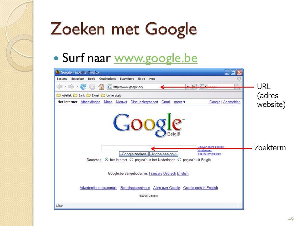 Zoeken met Google Surf naar www.google.be URL (adres website) Zoekterm
