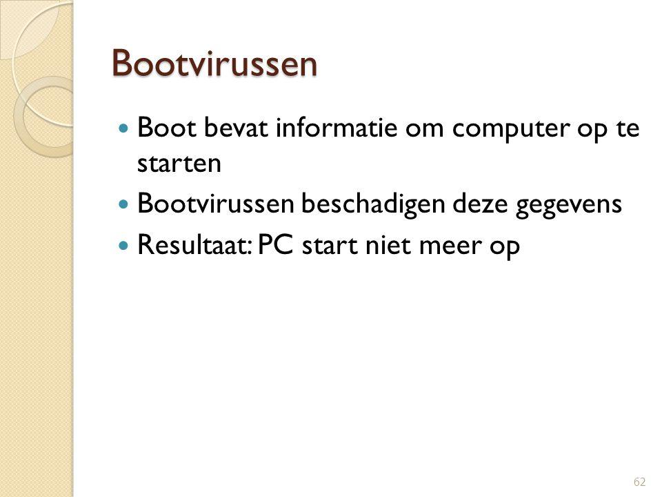 Bootvirussen Boot bevat informatie om computer op te starten