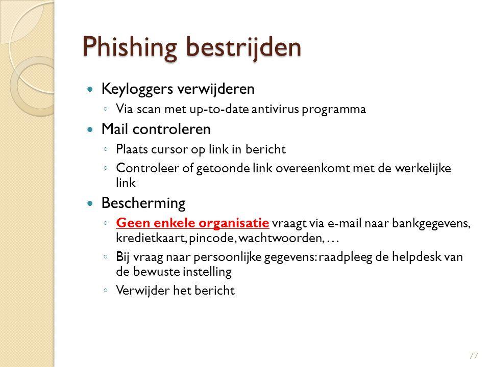 Phishing bestrijden Keyloggers verwijderen Mail controleren