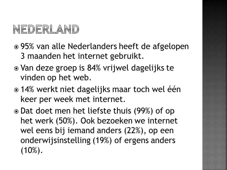 NEDERLAND 95% van alle Nederlanders heeft de afgelopen 3 maanden het internet gebruikt.