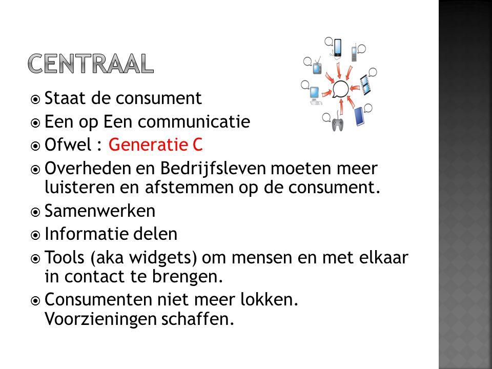 CENTRAAL Staat de consument Een op Een communicatie