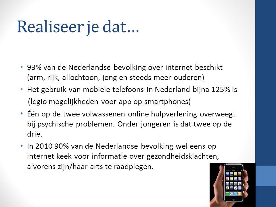 Realiseer je dat… 93% van de Nederlandse bevolking over internet beschikt (arm, rijk, allochtoon, jong en steeds meer ouderen)