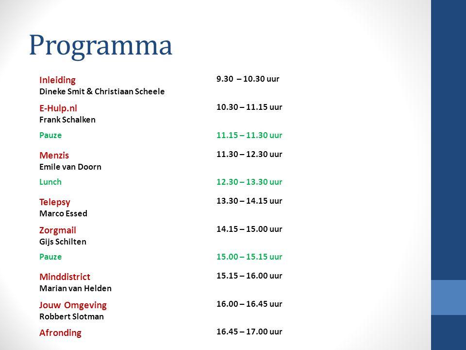 Programma Inleiding E-Hulp.nl Menzis Telepsy Zorgmail Minddistrict
