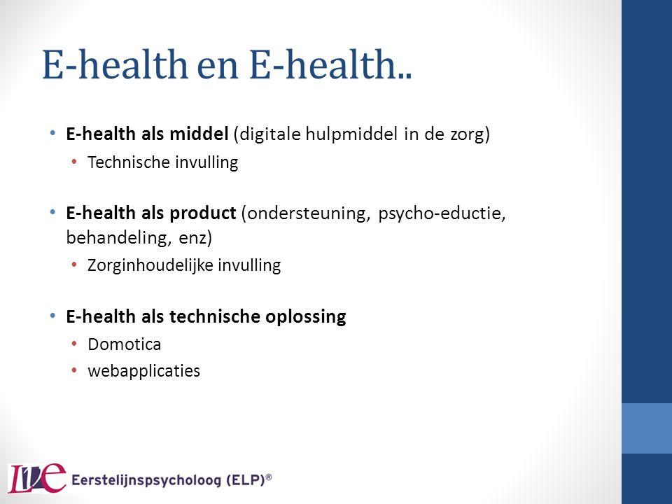 E-health en E-health.. E-health als middel (digitale hulpmiddel in de zorg) Technische invulling.