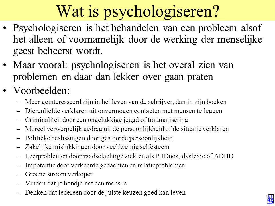 Wat is psychologiseren