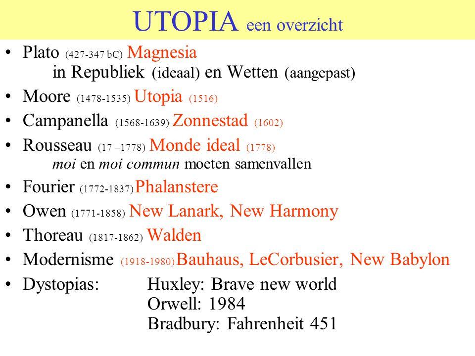 UTOPIA een overzicht Plato (427-347 bC) Magnesia in Republiek (ideaal) en Wetten (aangepast) Moore (1478-1535) Utopia (1516)