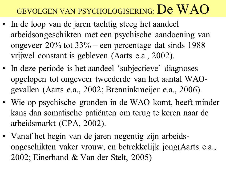 GEVOLGEN VAN PSYCHOLOGISERING: De WAO