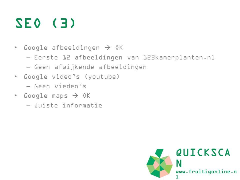 SEO (3) QUICKSCAN www.fruitigonline.nl Google afbeeldingen  OK