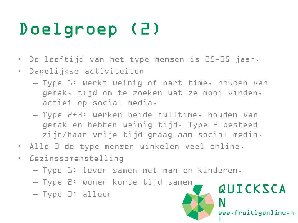 Doelgroep (2) QUICKSCAN www.fruitigonline.nl
