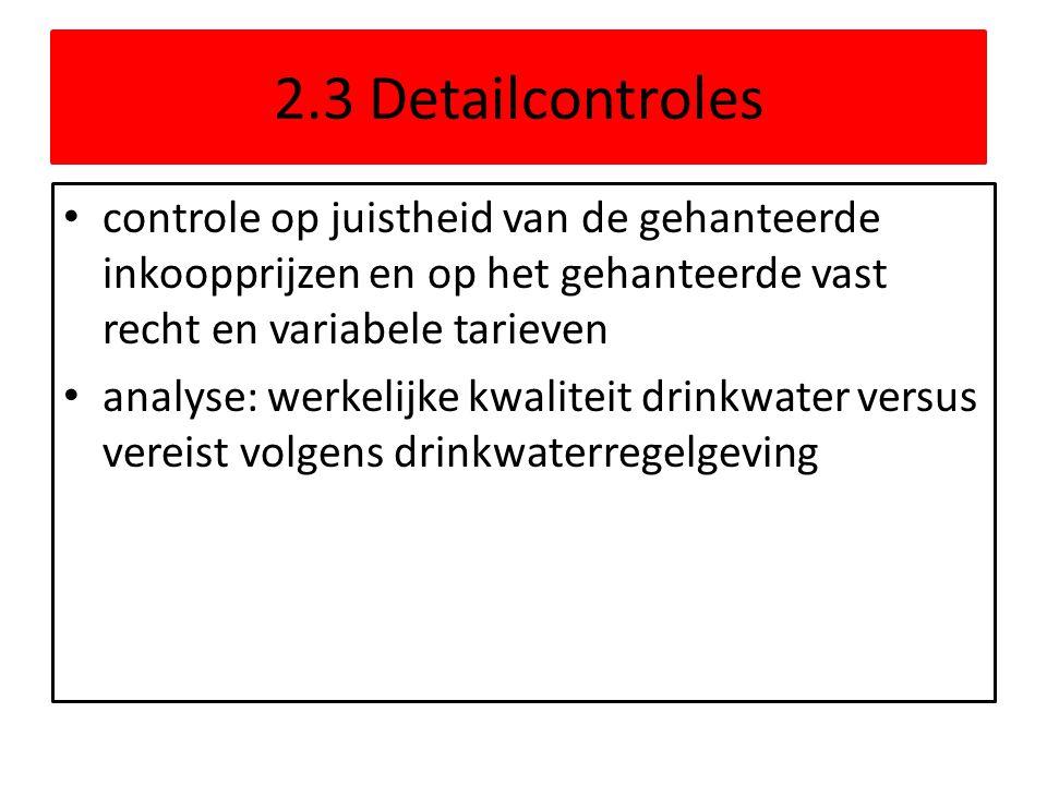 2.3 Detailcontroles controle op juistheid van de gehanteerde inkoopprijzen en op het gehanteerde vast recht en variabele tarieven.