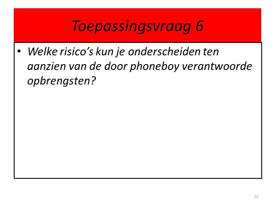Toepassingsvraag 6 Welke risico's kun je onderscheiden ten aanzien van de door phoneboy verantwoorde opbrengsten