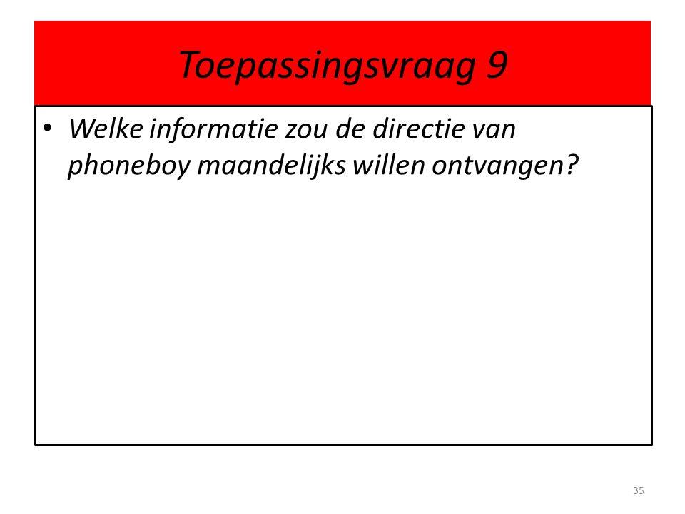 Toepassingsvraag 9 Welke informatie zou de directie van phoneboy maandelijks willen ontvangen