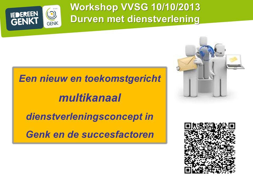 Workshop VVSG 10/10/2013 Durven met dienstverlening