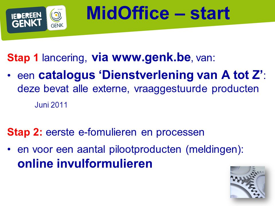 MidOffice – start Stap 1 lancering, via www.genk.be, van: