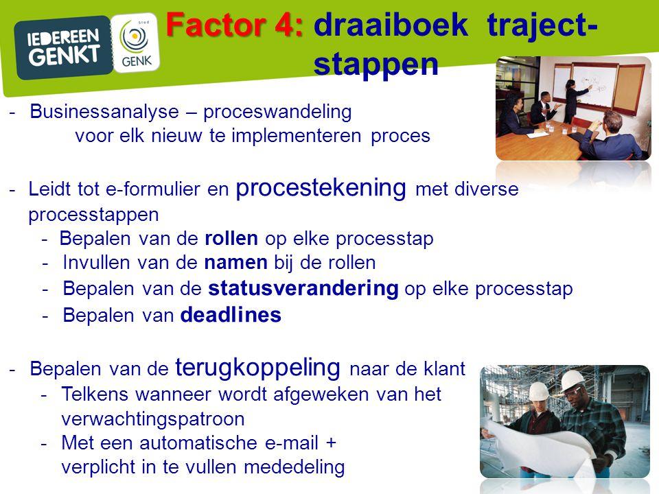 Factor 4: draaiboek traject-stappen