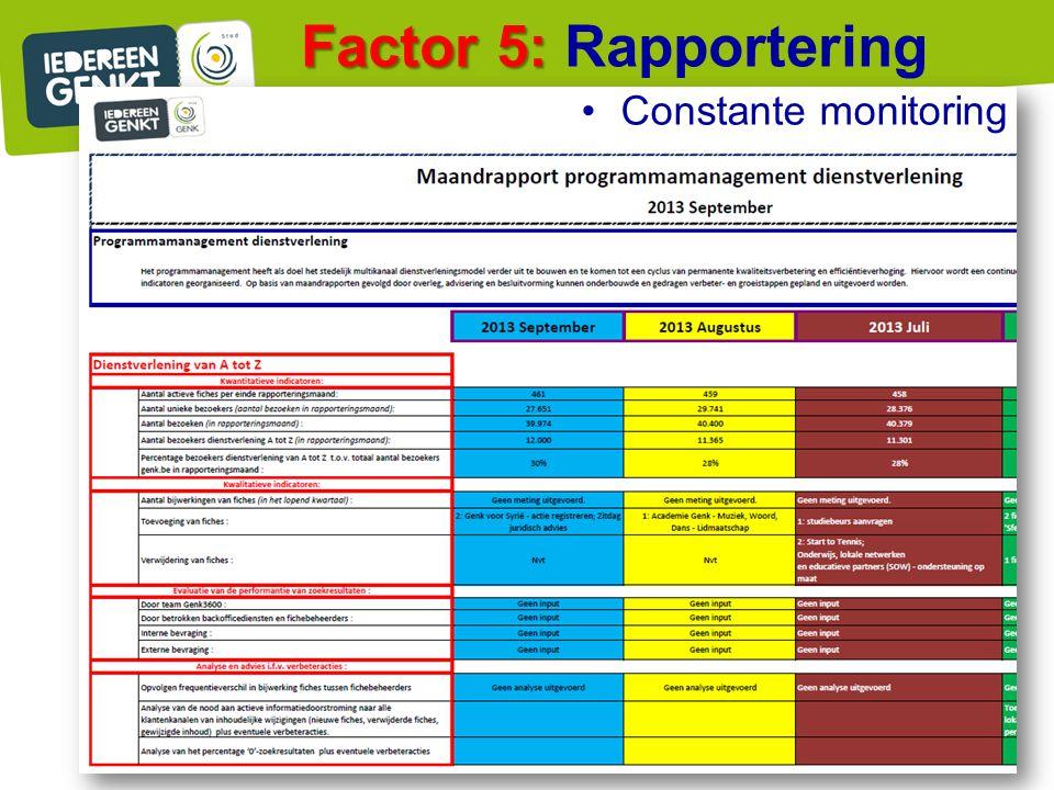 Factor 5: Rapportering Constante monitoring