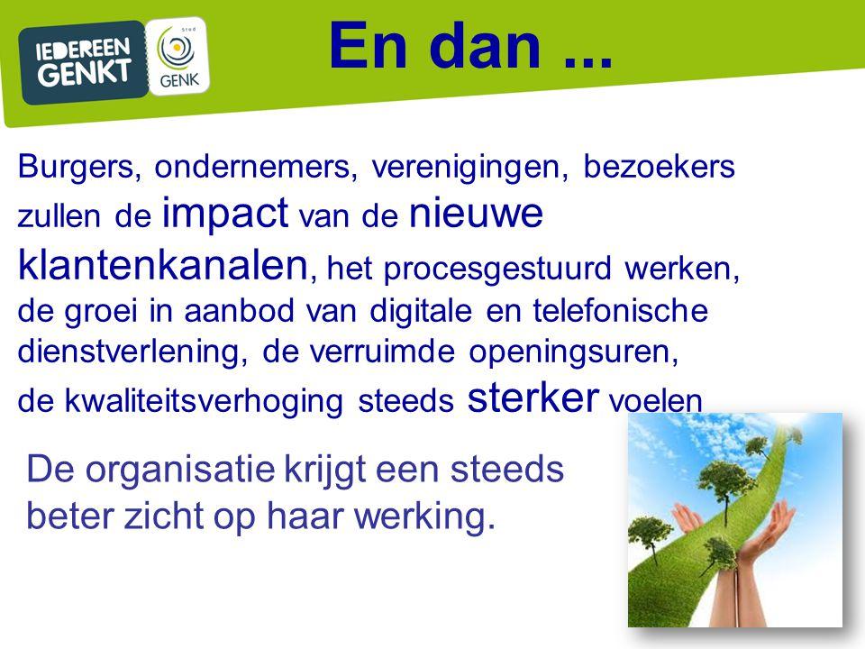 En dan ... Burgers, ondernemers, verenigingen, bezoekers zullen de impact van de nieuwe klantenkanalen, het procesgestuurd werken,