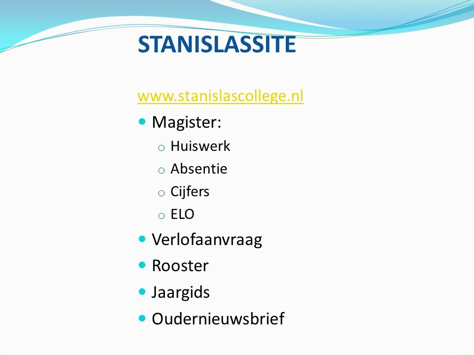 STANISLASSITE Magister: Verlofaanvraag Rooster Jaargids