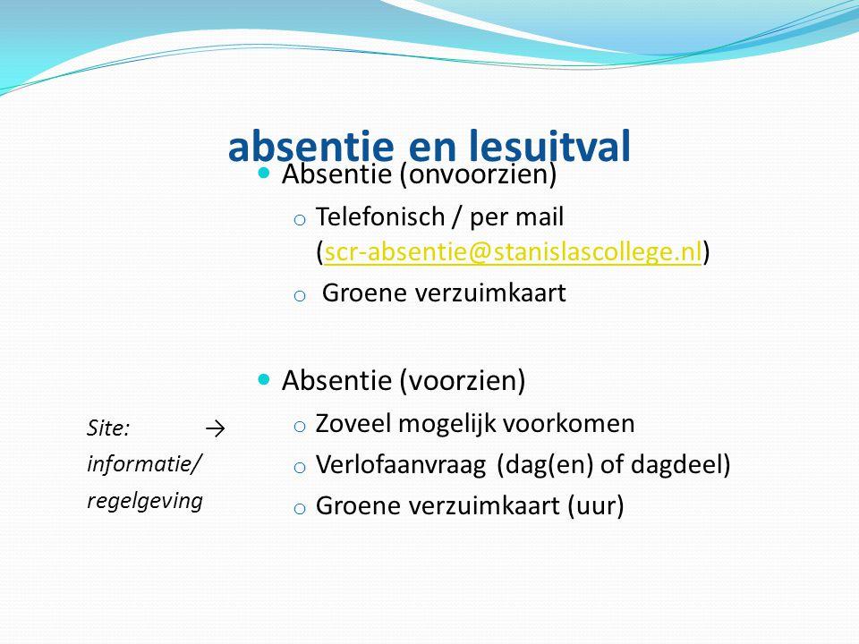absentie en lesuitval Absentie (onvoorzien) Absentie (voorzien)