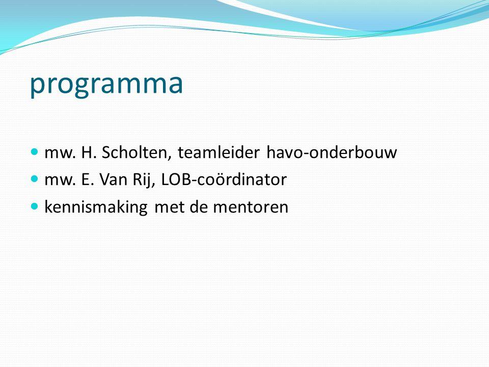 programma mw. H. Scholten, teamleider havo-onderbouw
