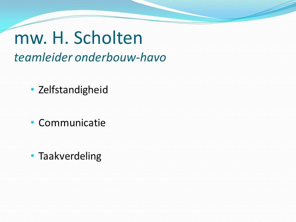 mw. H. Scholten teamleider onderbouw-havo