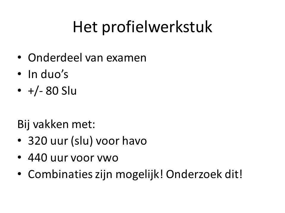 Het profielwerkstuk Onderdeel van examen In duo's +/- 80 Slu
