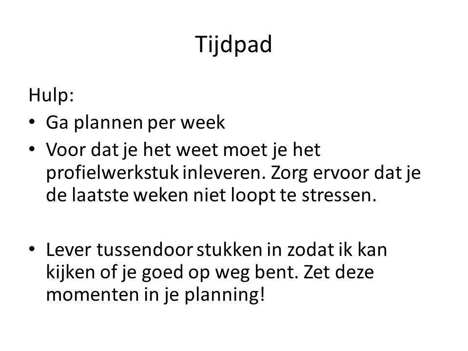 Tijdpad Hulp: Ga plannen per week
