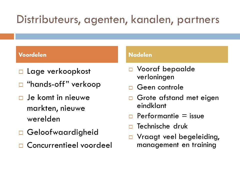 Distributeurs, agenten, kanalen, partners