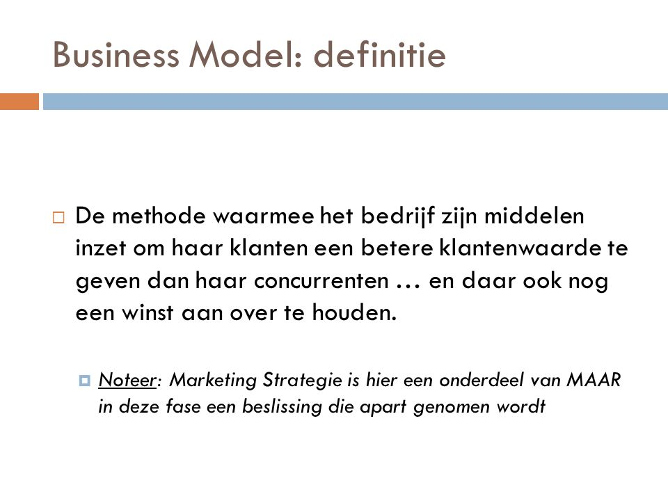 Business Model: definitie
