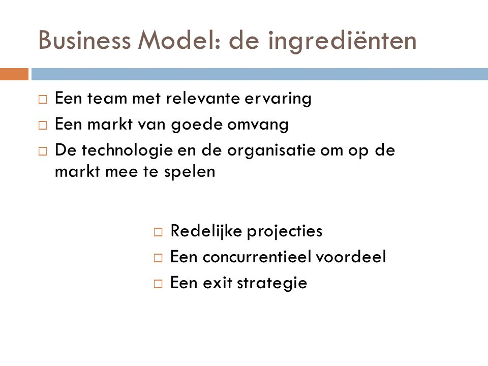 Business Model: de ingrediënten