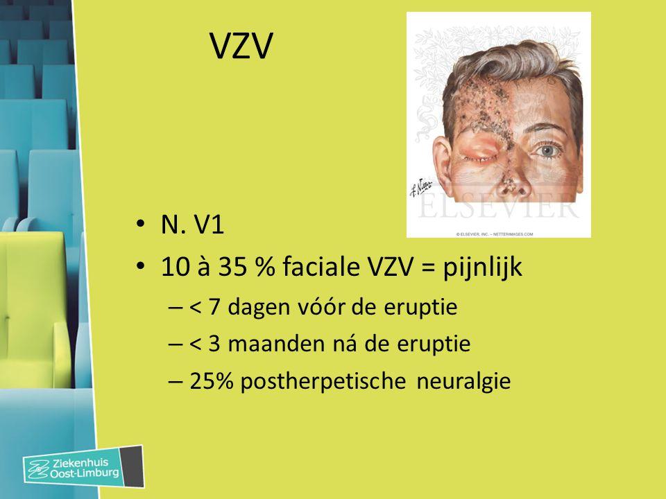 VZV N. V1 10 à 35 % faciale VZV = pijnlijk