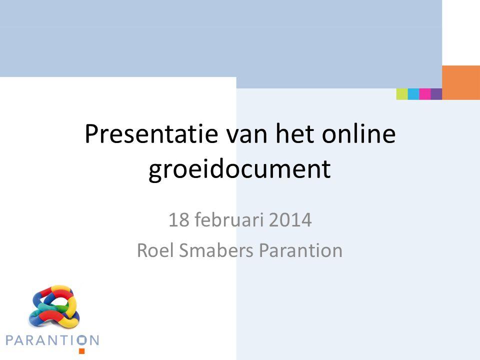 Presentatie van het online groeidocument