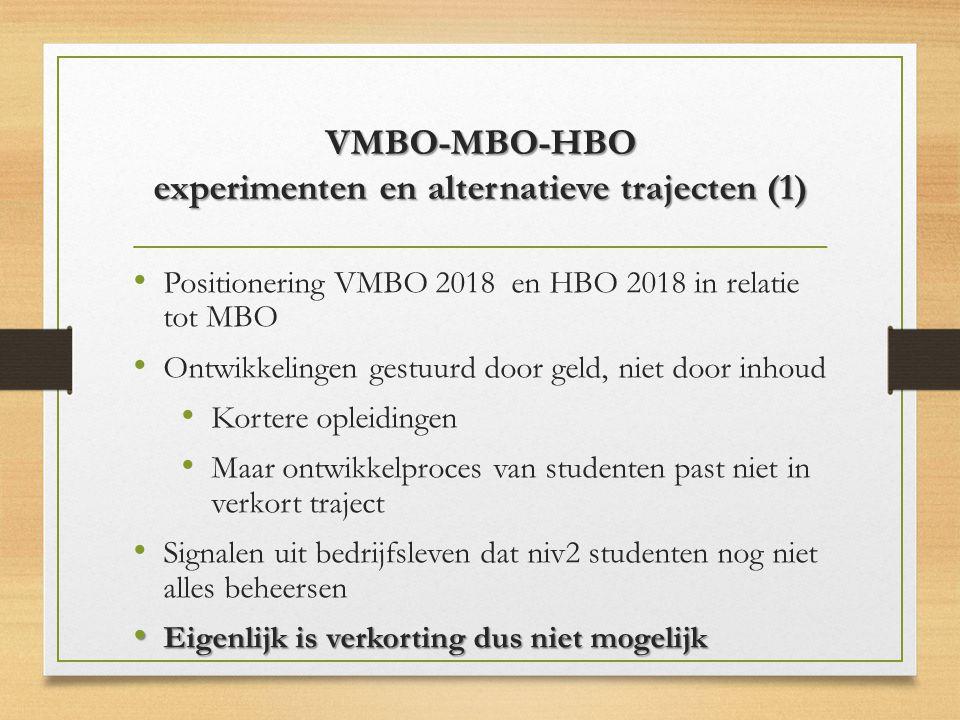 VMBO-MBO-HBO experimenten en alternatieve trajecten (1)