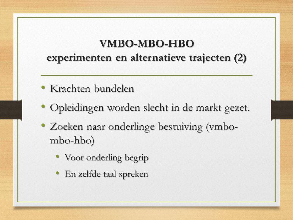 VMBO-MBO-HBO experimenten en alternatieve trajecten (2)
