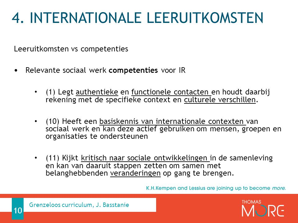 4. Internationale leeruitkomsten