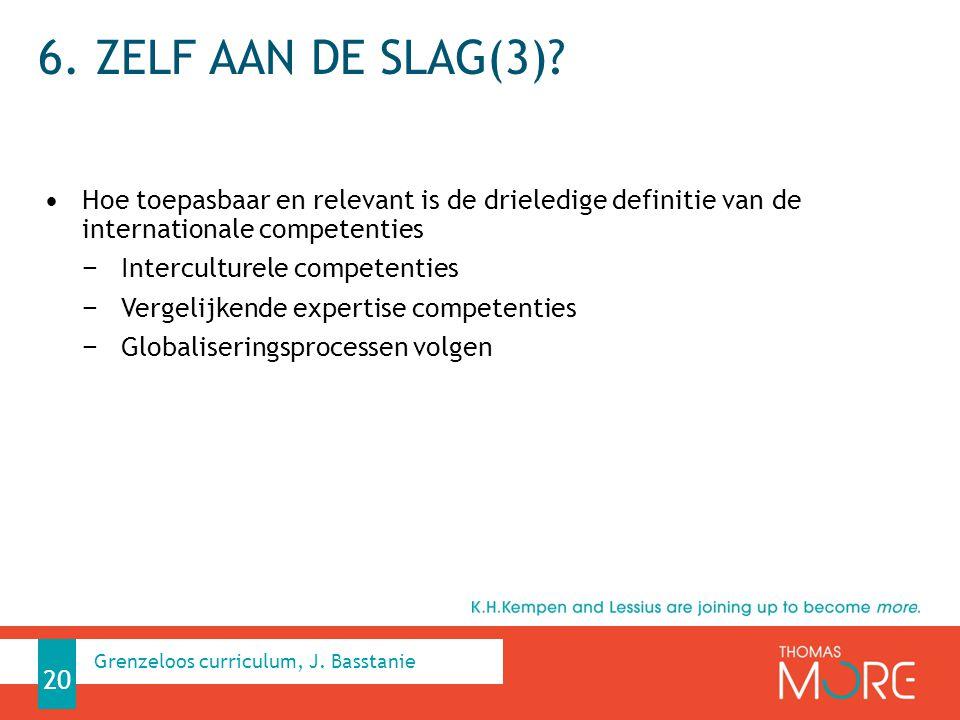 6. Zelf aan de slag(3) Hoe toepasbaar en relevant is de drieledige definitie van de internationale competenties.