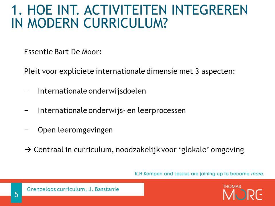 1. Hoe int. activiteiten integreren in modern curriculum
